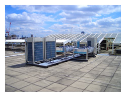 KSL supplied and installed new roof located Daikin VRV air condiioning, ducted fan cooled and associated ductwork to a building in London, call our Kent offices 01634 290999.
