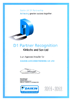 Daikin a/c D1 certificate awarded to KSL air conditioning allowing a 5 year warranty to be offered, please call 01634 290999 for more details.