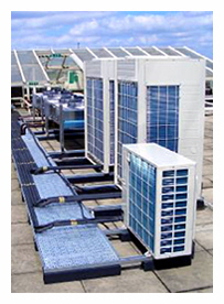 Daikin roof located air cooled heat pump condensers.